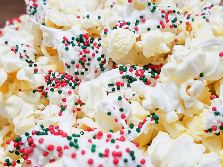 red and green peppermint butter popcorn snack mix christmas