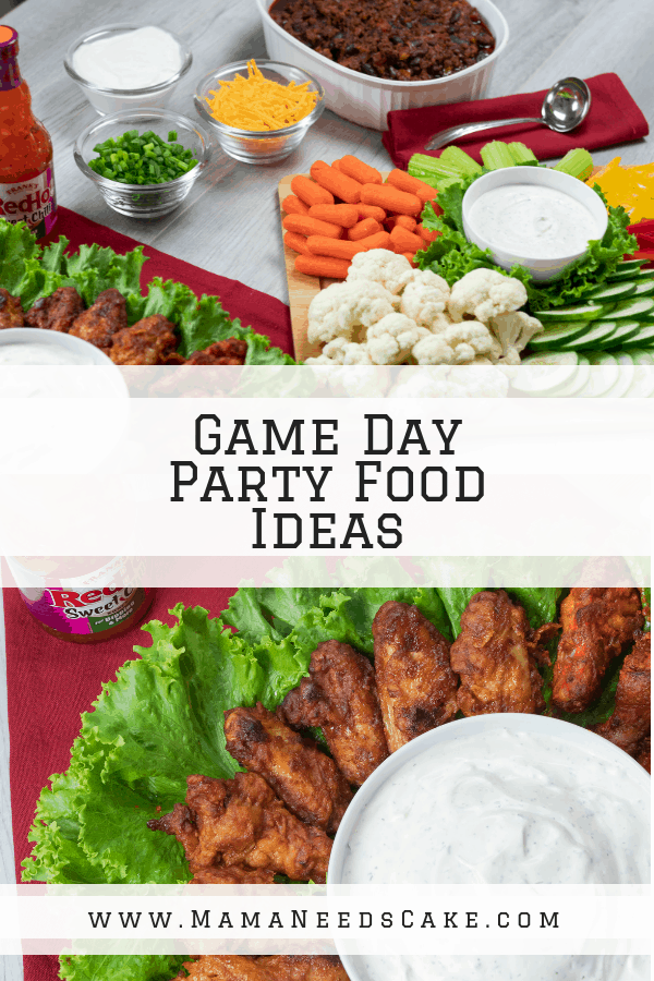game day party food ideas sauce dip ranch vegetables chili wings