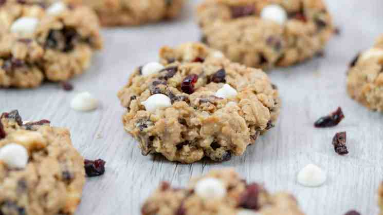 cranberry white chocolate chip oatmeal cookies gray background soft and chewy