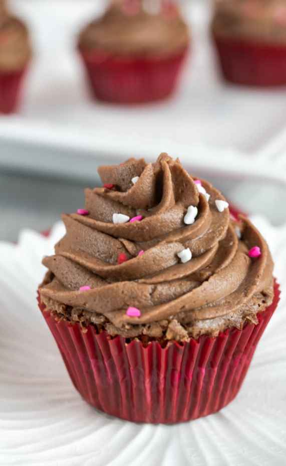 brownie cupcake with chocolate frosting for Valentine's Day
