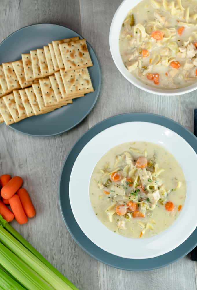 Instant Pot Creamy Chicken Noodle Soup with gray plate and brushed spoon saltine crackers and baby carrots