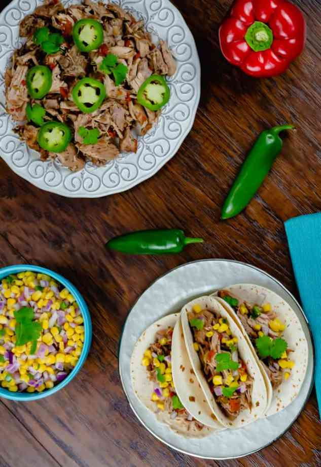 Instant Pot Pork Carnitas with Corn Salsa