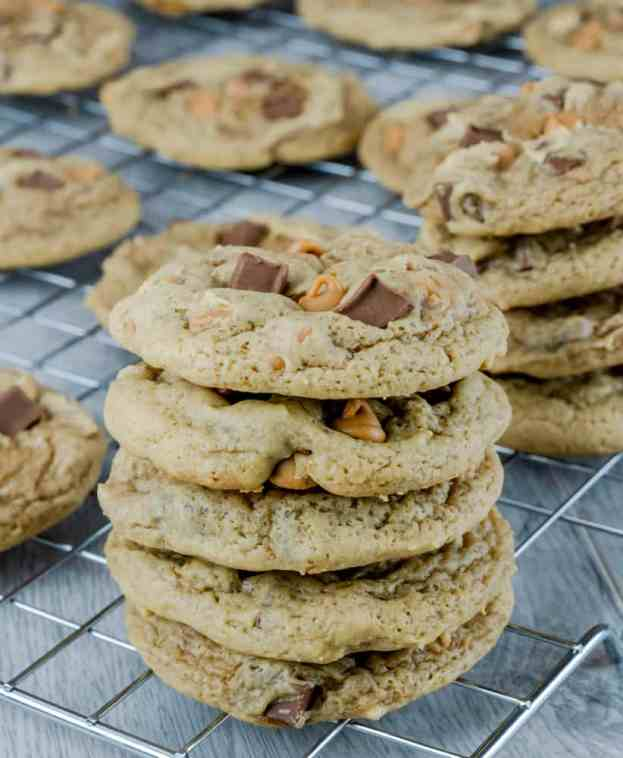 Chocolate Chunk Peanut Butter Cookies on wire cooling rack