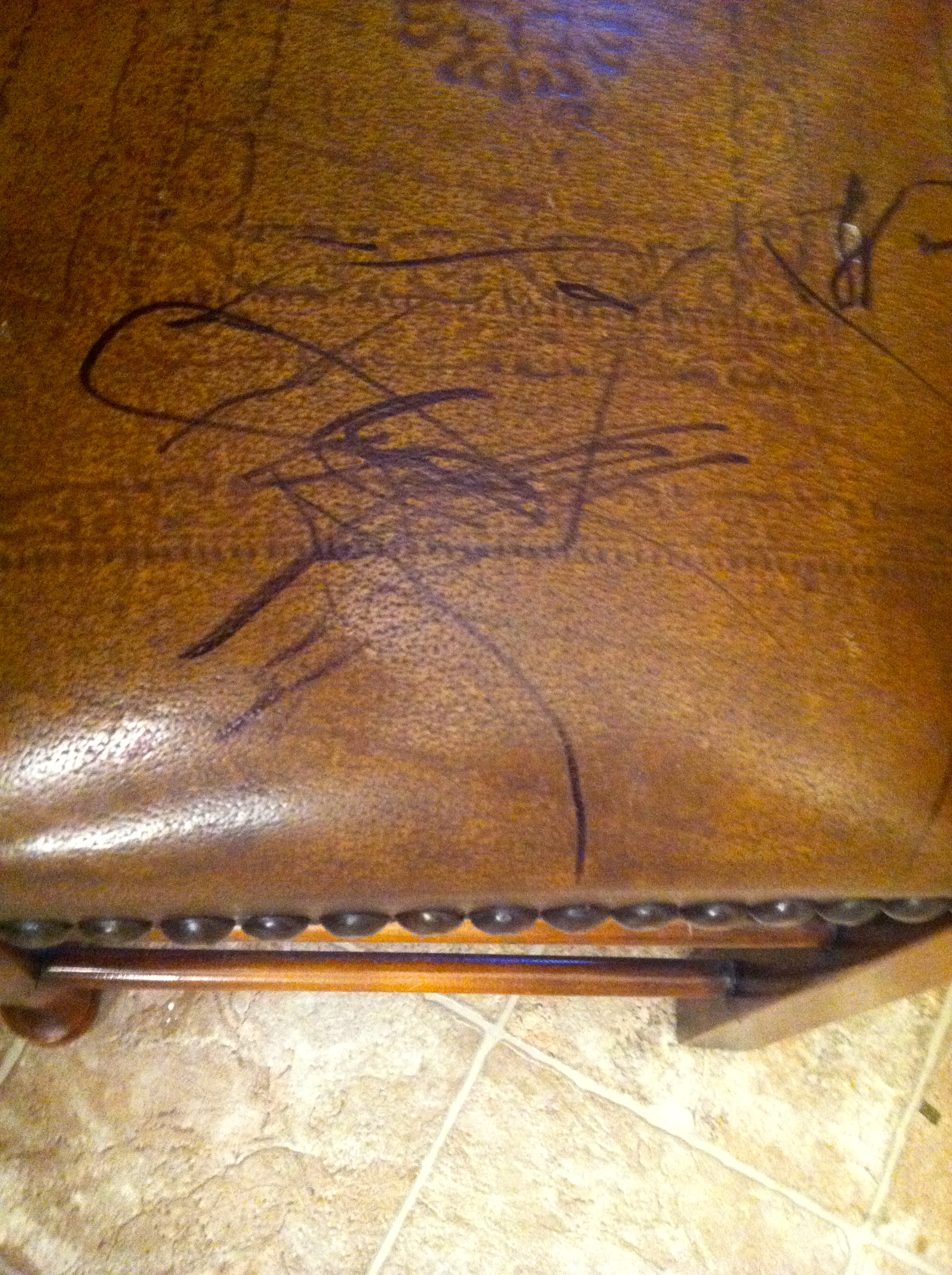 how to erase pen ink from leather sofa with down cushions remove permanent marker furniture