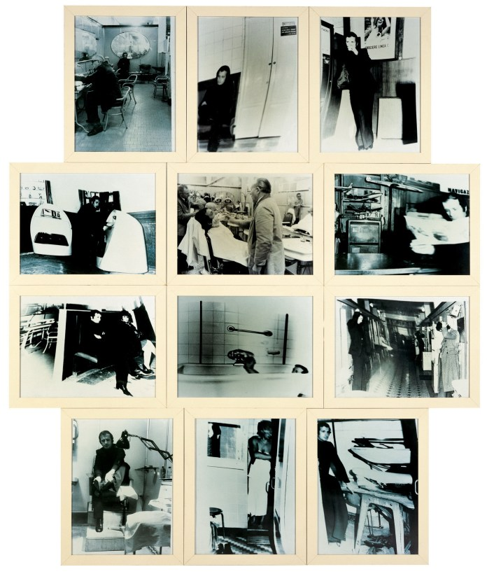 Franco Vaccari, Per un trattamento completo: Viaggio all'Albergo diurno Cobianchi, Milano, 1971 12 fotografie | 12 Photographs 156 x 142 cm Collezione privata / Private Collection Courtesy Galleria