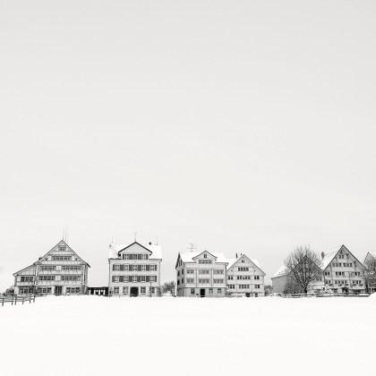 Pierre Pellegrini, Le bianche case dell'inverno, 2017, Stampa ai pigmenti di carbone su carta cotone, cm 50 x 50, Edition: 1/5, Courtesy: Galleria Valeria Bella
