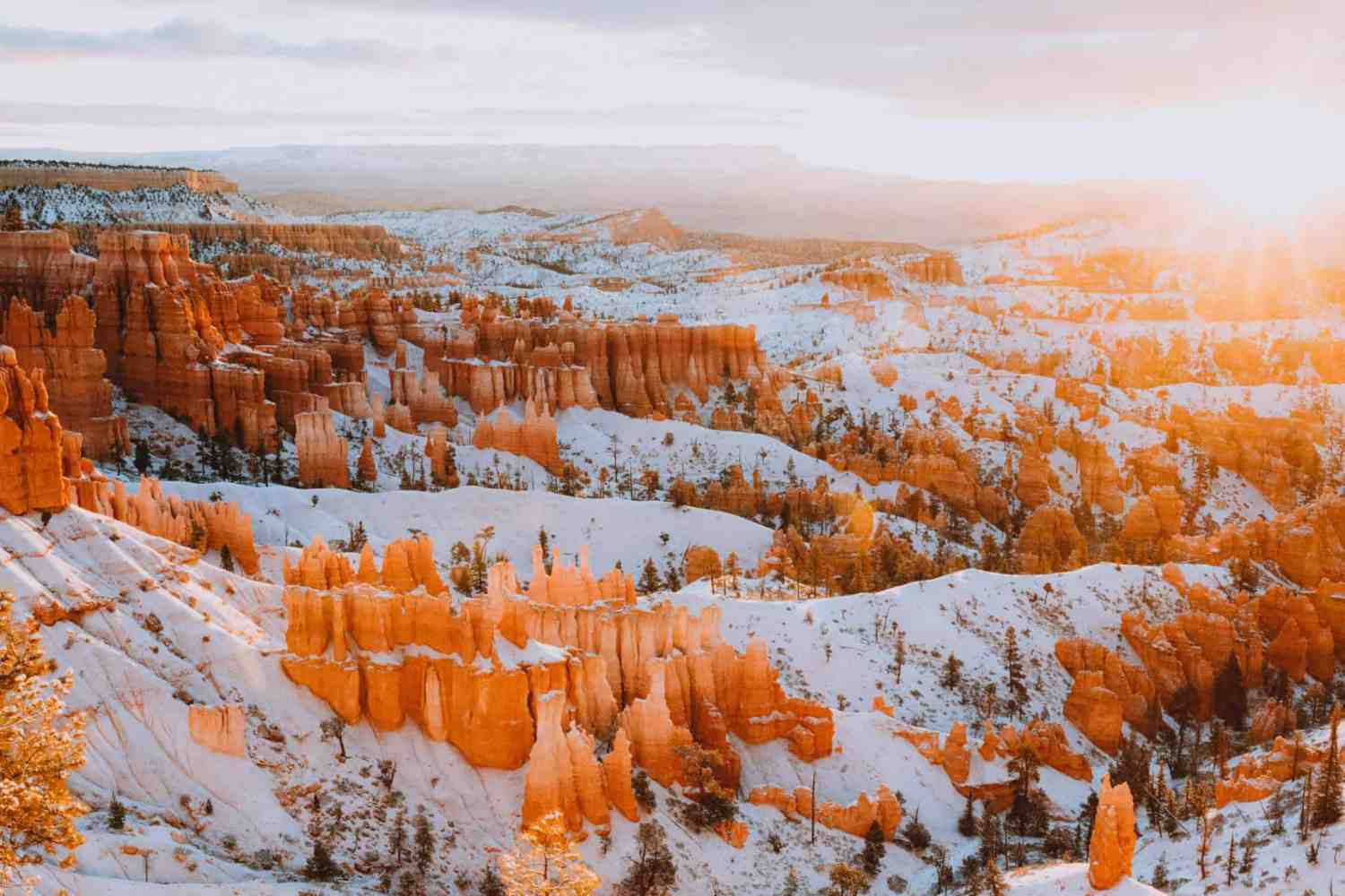 American Southwest road trip stops - Bryce Canyon National Park during sunrise