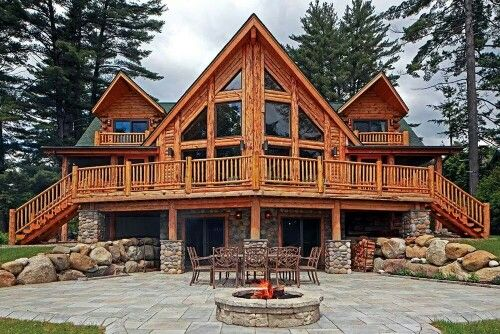front of luxury cabin