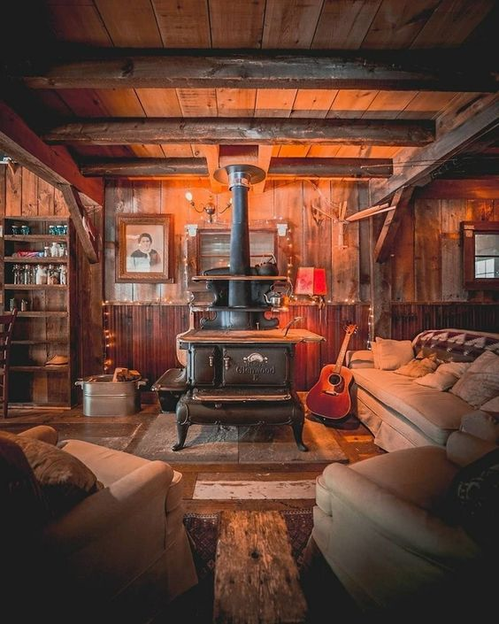 rustic interior with stove