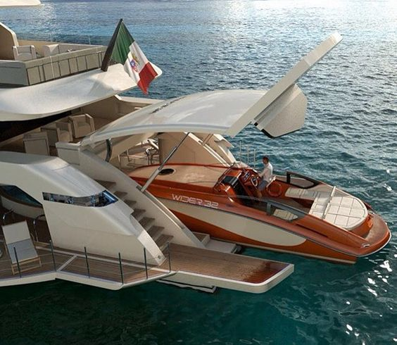 yacht with speedboat