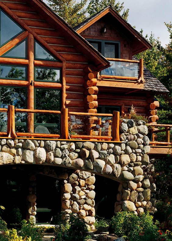 log and stone home