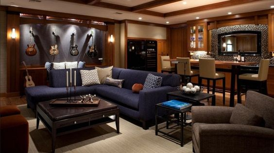 stylish man cave with guitars