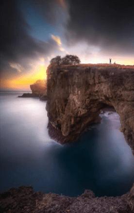 sunrise ocean cliff