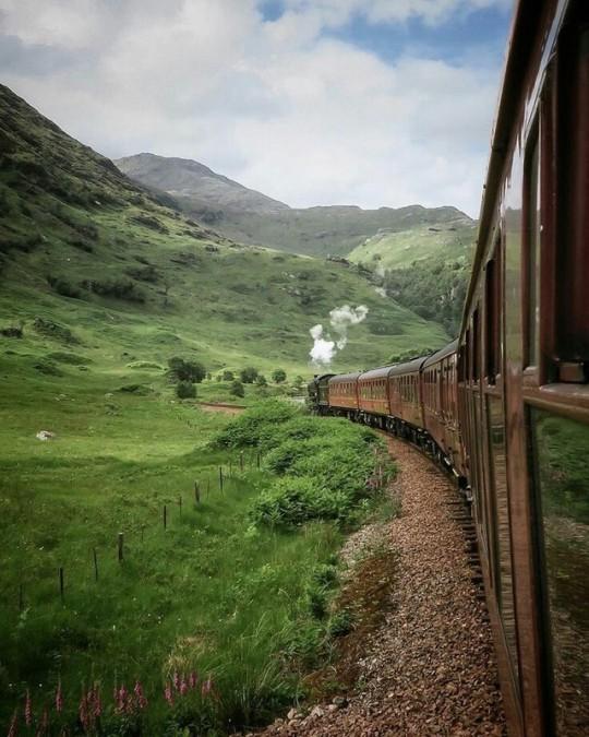 train ride through mountains