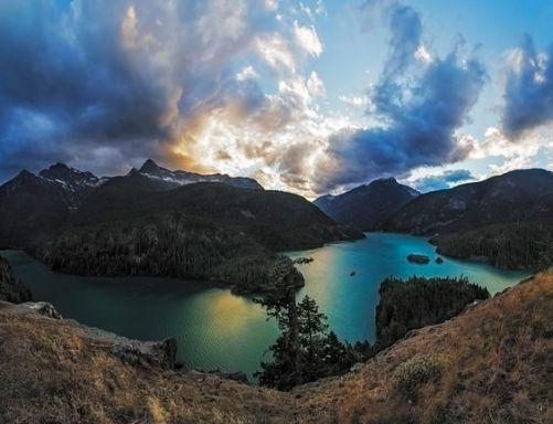 mountain lake and awesome sky