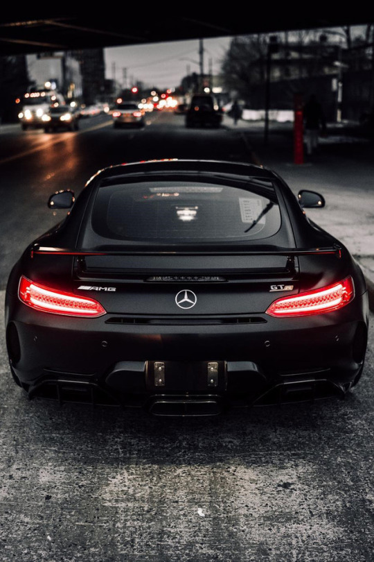 black Mercedes on city street