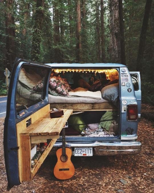 camper van with guitar
