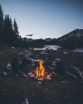 good friends camping down by the lake