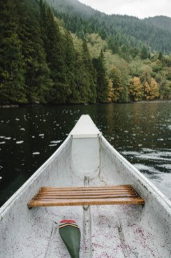 late summer canoe trip on lake