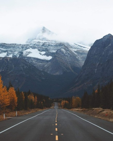 long highway leading to snow capped mountain