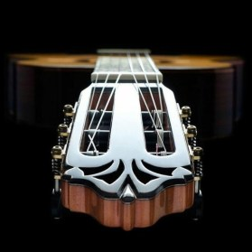 looking down neck of guitar
