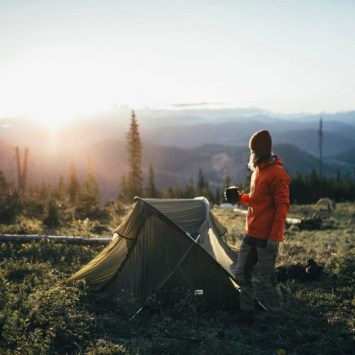 morning cup of coffee outside of tent