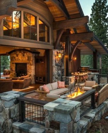 outdoor seating rustic house