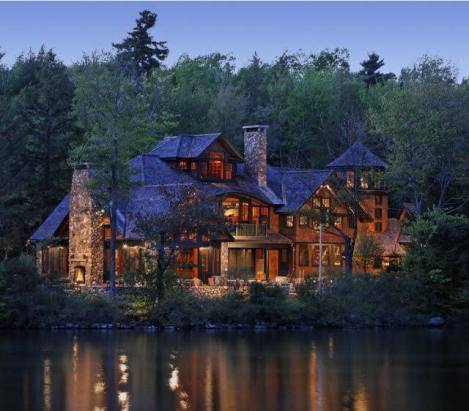 rustic house by lake