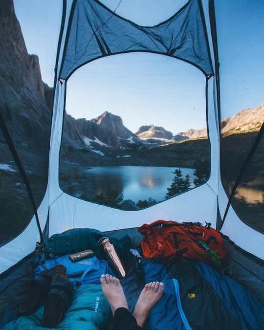 tent view of lake and mountains