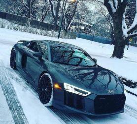 black audi in the snow