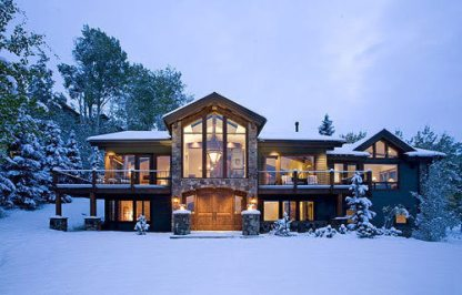 large home and snow