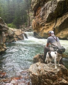 man fly fishing with his dog