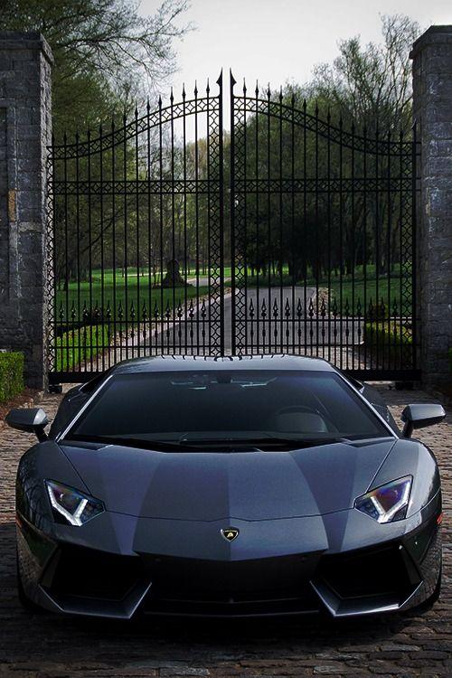 black lamborghini in front of mansion gate