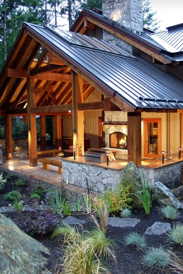 outdoor entertaining space with fireplace