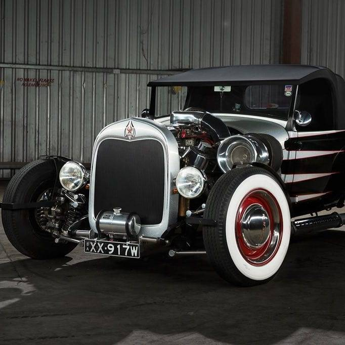 hot rod with white wall tires