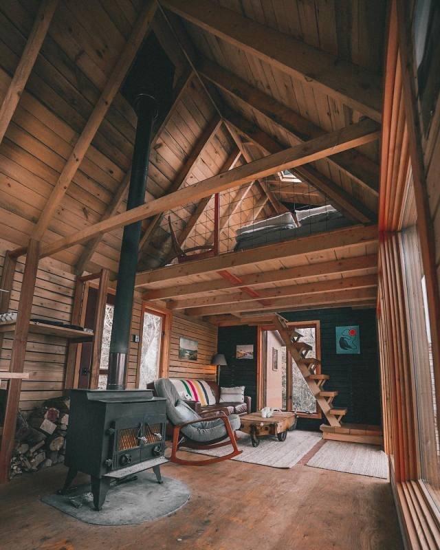 cabin interior with stove