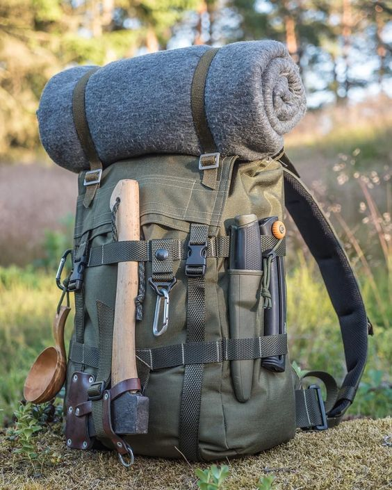 backpack with axe