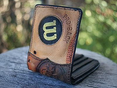 leather mens wallet made from a wilson baseball glove