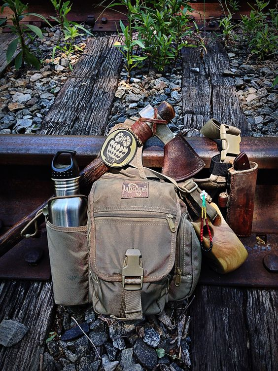 day pack with axe