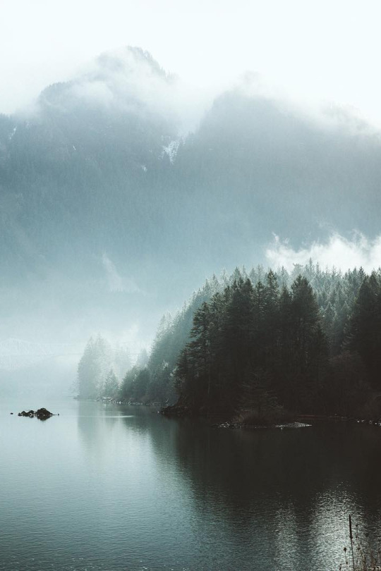 misty mountains and lake