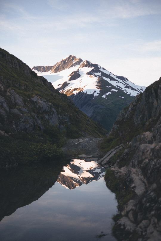snow capped mountain scene