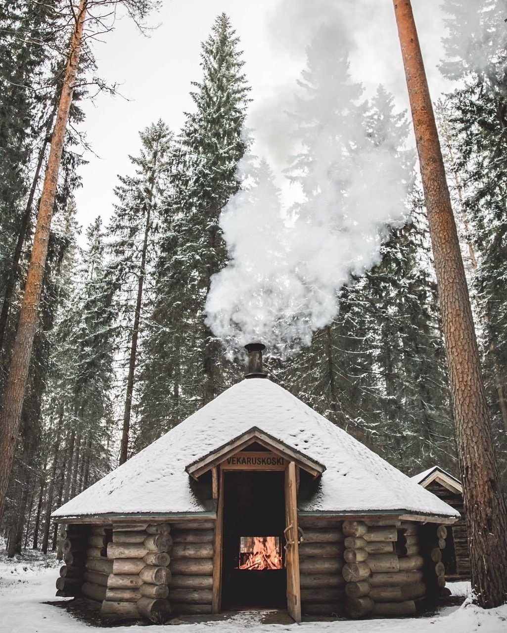cabin hut in the snow