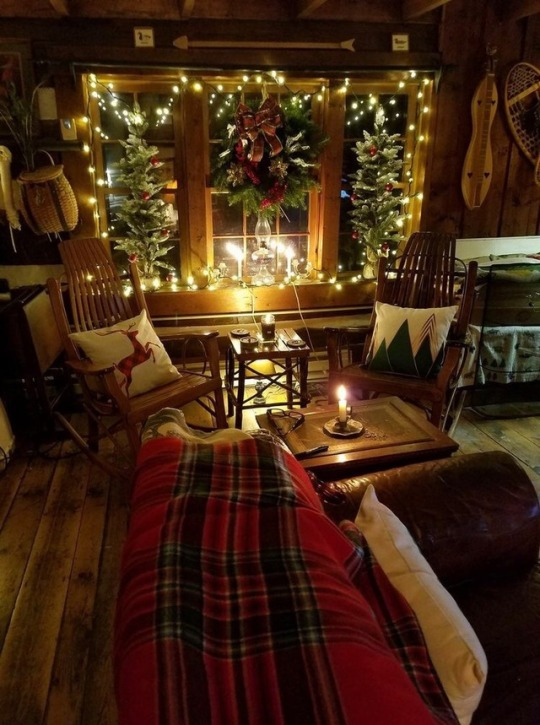 christmas cabin interior