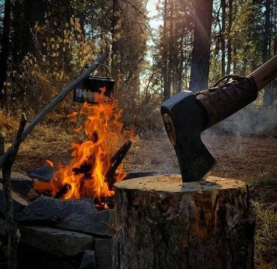 campfire and axe