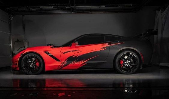 black and red car