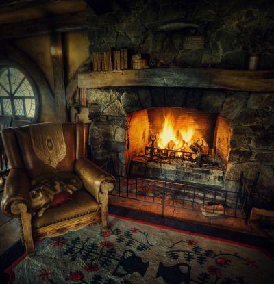 cozy fireplace scene