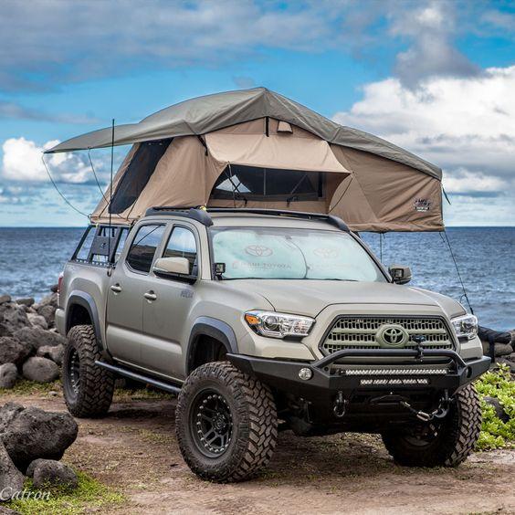 truck tent near ocean