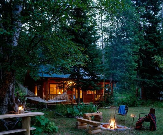 campfire cabin and hammock
