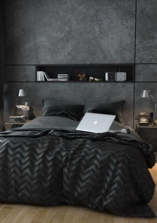 masculine black bedroom design