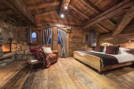 masculine cabin bedroom